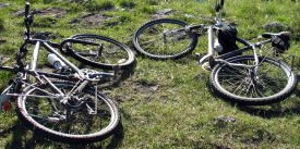 Mountain bikes in the grass