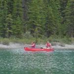 Canoeing on Maligne Lake 1280x960 desktop wallpaper