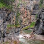 River running through Maligne Canyon limestone bedrock - Millions of Years in the Making - Canadian Rockies