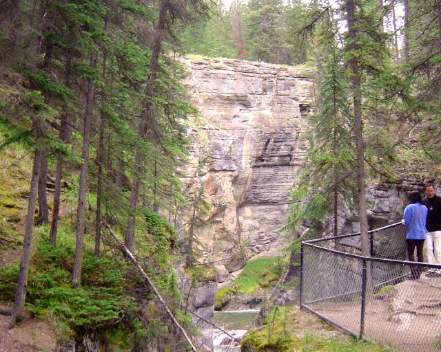 Hiking along the Maligne River Canyon. Photo
