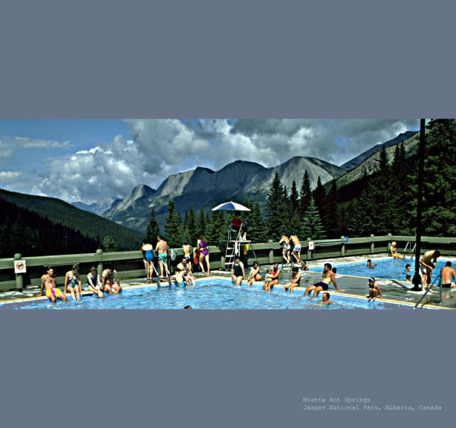 Miette Hot Springs Surrounded by Mountains Photo