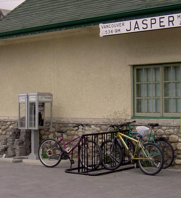 Bikes parked at Jasper National Park train station Photo