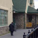 Walking in front of Jasper train station - The train station is on Connaught Drive - Canadian Rockies