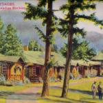 """The Cottages"" from 1940s Jasper National Park Postcard Folder - Depicts Jasper Park Lodge - Canadian Rockies"