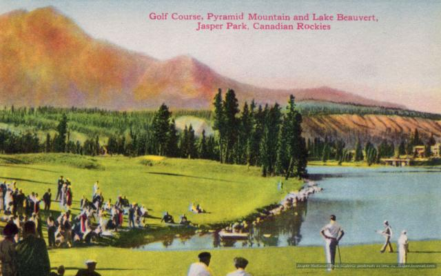 """Golf Course"" from 1940s Jasper National Park Postcard Folder Photo"