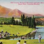 """Golf Course"" from 1940s Jasper National Park Postcard Folder - Shows the Famous Jasper Park Lodge Golf Course - Canadian Rockies"
