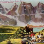Having Lunch in Jasper National Park - Historical postcard in Tonquin Valley in Jasper - Canadian Rockies