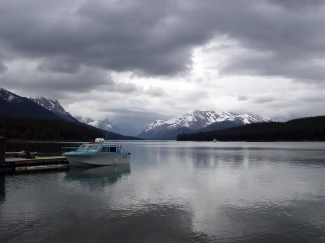 Maligne Lake on a cloudy day Photo