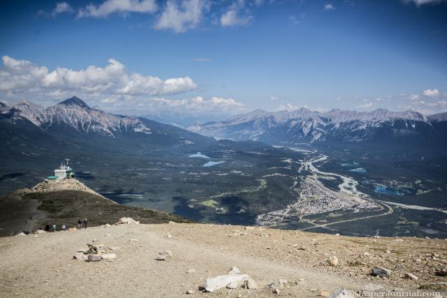 A view of Jasper while hiking to the summit of Whistlers Mountain Photo
