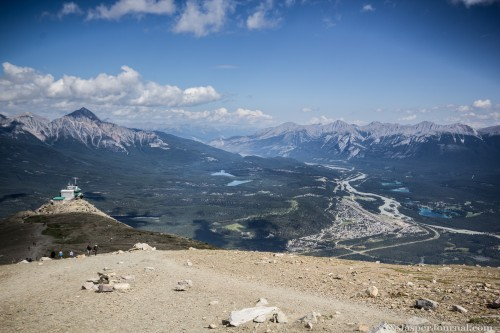 An aerial view of Jasper townsite from Whistlers Mountain