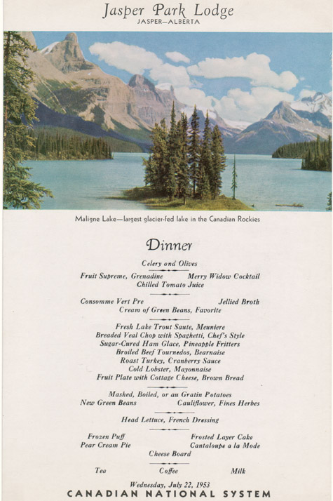Jasper Park Lodge 1953 Dinner Menu