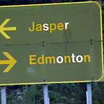 Jasper left, Edmonton right - This way to Jasper National Park - Canadian Rockies