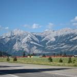 View when leaving Marmot Lodge Jasper Hotel driveway entrance